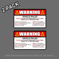 """x2 Warning Rules Decal Sticker Funny FOR Jeep JDM Car Truck SUV  5"""""""