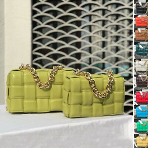 Padded Woven Microfibre Leather Metal Chain Shoulder Bag Crossbody Clutch Purse