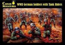 Plastic Toy Soldiers WWII German Soldiers Tank Riders 34 Caesar 1/72 Scale #77