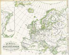 🐲⚔️🛡164 Jahre alte Landkarte WIKINGER Vikings Vikingar NORMANNEN Nordmeen 1854