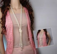 Antique fashion jewellery 120cm long Knotted faux pearl necklace sweater chain