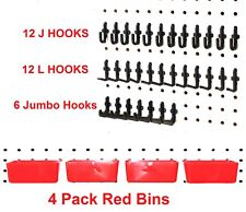 JSP 34 PIECE Peg Board Organizer Storage Pack Locking Hooks and Bins Kit