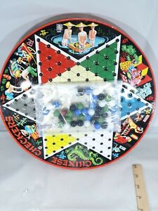 Vintage Chinese Checkers/Checkers Metal Tin Board Game Marbles Pixie Games