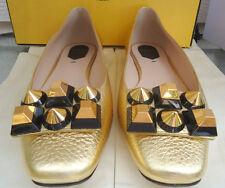 NEW $750 Fendi 38.5 Ballerina Skimmer Flat Gold Edition Black