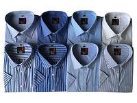Mens Short Sleeve Check Stripe Plain Shirts Reg/Big Sizes M -5XL Cotton Blend