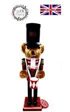 "Handmade Bear Drummer Christmas Nutcracker 14"" High Festive Ornament"