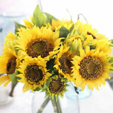 7 Heads Artificial Sunflower Fake Silk Flowers Bouquet Home Party Wedding Decor