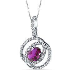 14K White Gold Created Ruby Pendant Dual Halo Design 1.50 Carats