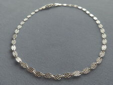 """Textured Oval Design- Italy 925 Sterling Silver 10"""" Ankle Bracelet-"""