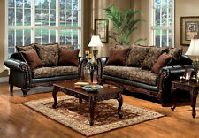 NEW Traditional Living Room Furniture Wood Trim Brown Fabric Sofa Couch Set IGDF