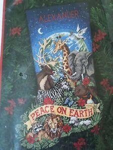 Vtg Dimensions 9116 Peaceful Earth Christmas Stocking Kit Needlepoint  Rare 1998