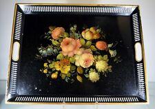 SUPERBE plateau TÔLE PEINTE bouquet de fleurs fin XIXe 1900 galerie