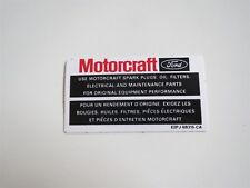 1982 - 1989 LINCOLN TOWN CAR CONTINENTAL MARK VI VII MOTORCRAFT PARTS DECAL E2-C