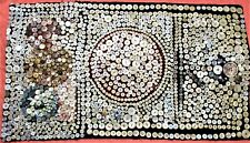 UNIQUE FOLK ART TEXTILE & MOTHER OF PEARL TABLE MAT, 1,000 BUTTONS HAND SEWN