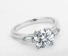 Solid 14K White Gold plated 2 Carat Enhanced Diamond Engagement Ring Round Cut