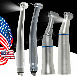 Dental LED/ Low High Speed handpiece Contra Angle Push Button 4hole Fit NSK KAVO