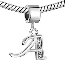 Pandora Bracelet Silver Plated Letter A Dangle Alphabet Crystal Bead Charm Sale