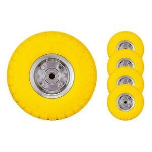 """Heavy Duty 10"""" Sack Truck Wheel Solid Rubber Tyre Barrow Yellow"""