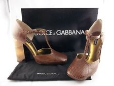 $750 Dolce & Gabbana Snakeskin Pump size 39 | 9 Italy Brown Leather Shoes D&G