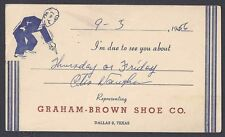 1956 GRAHAM BROWN SHOE CO SALESMANS CALLING CARD MULTI COLORED, DALLAS TX