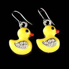 w Swarovski Crystal ~Yellow DUCK Easter DUCKIE Ducky Charm Pendant Earrings Cute