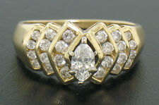 14k Solid Gold Marquise Solitiare Diamond Ring w/ 3 Tiers Round Channel Diamonds