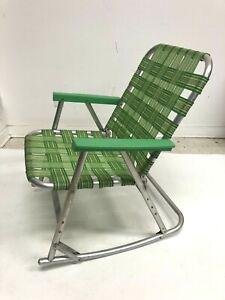 Vintage Aluminum Folding ROCKING CHAIR pool patio lawn rocker retro metal Green