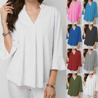 Women Blouse Ruffles Short-Sleeve Shirt Tops Dress T-shirt Pull Over Blouson