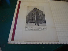 large J.L. TAYLOR & COMPANY aprox 22 x 15 advertising sheet/sign/page CLOTHING