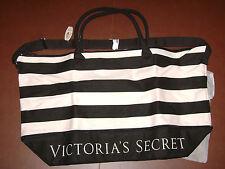 NEW Victoria Secret Huge Canvas Tote Shopping Bag Weekender Getaway Pink Black