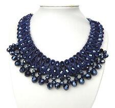 Ella Jonte Statementkette blau Collier Strass Halskette mit funkelnden Steinen