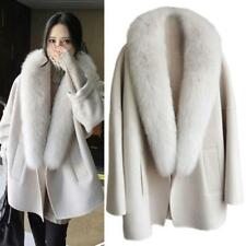 Women's Cashmer Loose Coats Fur Lapel Capa Poncho Jackets Outwear US M