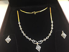 Pave 2.35 Cts Natural Diamonds Necklace Earrings Set In Solid Certified 14K Gold