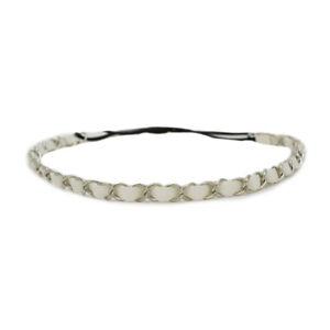 Mia Fashion Headband, Headwrap Hair Accessory, Leather with Chain, White/Silver