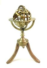 Brass Engraved Armillary Sphere Globe Table Top on Wooden Tripod Nautical Decor