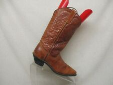 Brown Leather Pull On Cowboy Western Boots Womens Size 5.5 M Style 0664