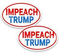 Impeach Trump Bumper Stickers Oval White Anti Trump Decals Red Border 2 pack
