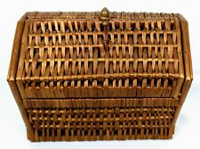 Vintage Woven Wicker Sewing Basket Hexagon w Hinged Lid Wooden Sides Spain 1950s