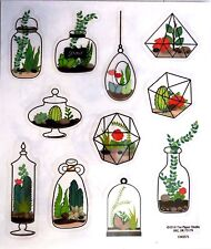 Terrarium Plants Ferns Cactus Home Garden PS Clear  Stickers