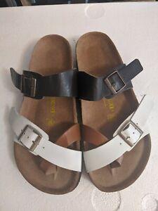Birkenstock Mayari Tan Brown white Sandals Size 37/6 Buckle Leather