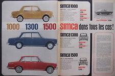 PUBLICITÉ DE PRESSE 1964 SIMCA 100 - 1300 - 1500 DANS TOUS LES CAS - ADVERTISING
