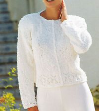 "KNITTING PATTERN -Ladies DK  short cardigan with lace- fits 30-40"" chest lovely"