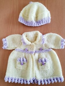 """Doll Clothes ~ Hand Knitted Coat & Hat for a 16"""" Doll ~ Fits Tiny Tears"""