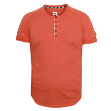ROGAN NYC Ishi sumac orange cotton rolled sleeve muscle tee henley shirt S NEW