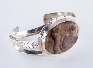 Vintage Navajo Pétrifié Bois Argent Sterling Bracelet Manchette