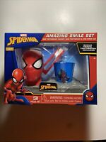 Marvel Spider-Man Amazing Smile Gift 3 Pc Set Toothbrush Holder Rinse Cup - NEW