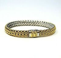 John Hardy Bracelet Classic Chain 7.55 MM Reversible Sterling & 18K Gold 7.5""
