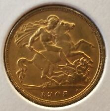 1905 Great Britain Gold Coin Half Sovereign Edward VII