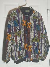 Vintage Robert Stock Men's 100% Silk Bomber Jacket Size L Zip Up 1980's Artistic