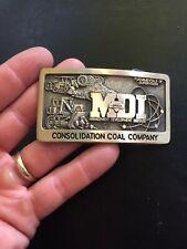 Coal Miner Belt Buckle American 1981 Vintage Solid Brass Mining Gas Oil Gold Vg